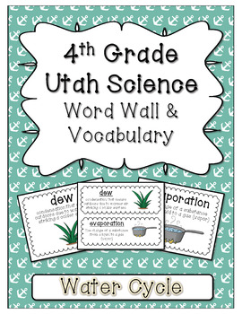 Utah Science Word Wall and Vocabulary - Water Cycle