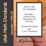 Utah Secondary Common Core Mathematics 3 Standards & I Can Statements