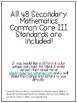Utah Secondary Common Core Mathematics 3 Standards & I Can Statements