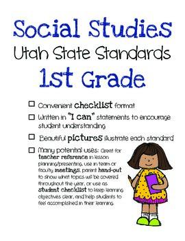 Utah Social Studies Standards Checklist 1st Grade