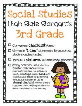 Utah Social Studies Standards Checklist 3rd Grade