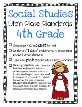 Utah Social Studies Standards Checklist 4th Grade