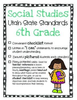 Utah Social Studies Standards Checklist 6th Grade