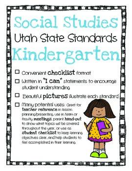 Utah Social Studies Standards Checklist Kindergarten