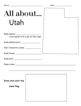 Utah State Facts Worksheet: Elementary Version