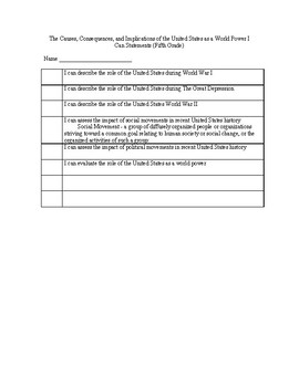 Utah State Fifth Grade Science Core I Can Statements