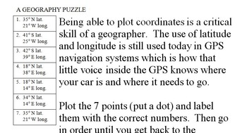 Utah State Latitude and Longitude Coordinates Puzzle - 7 Points to Plot - FREE!
