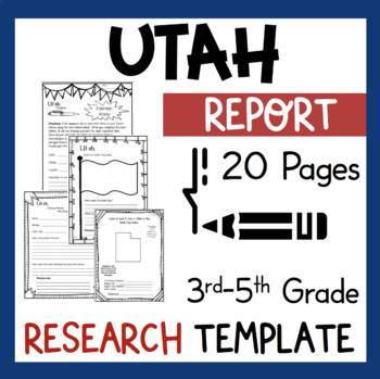 Utah State Research Report Project Template + bonus timeline Craftivity UT