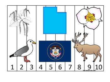 Utah State Symbols themed 1-10 Number Sequence Puzzle Preschool Game.