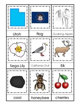 Utah State Symbols themed 3 Part Matching Preschool Literacy Card Game.
