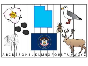 Utah State Symbols themed Alphabet Phonics Sequence Puzzle Preschool Game.