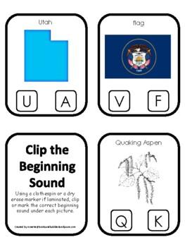 Utah State Symbols themed Beginning Sounds Clip It Preschool Card Game.