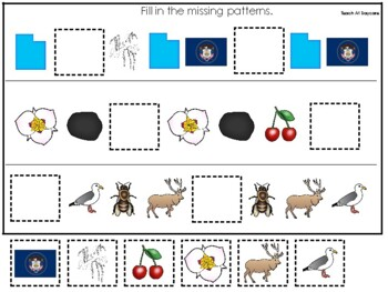 Utah State Symbols themed Fill In the Missing Pattern Preschool Math Game.