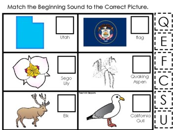 Utah State Symbols themed Match the Beginning Sound Preschool Phonics Game.