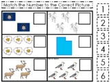 Utah State Symbols themed Match the Number Preschool Math Counting Game.