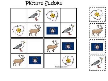 Utah State Symbols themed Picture Sudoku Preschool Learning Math Game.
