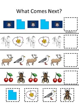 Utah State Symbols themed What Comes Next Preschool Math Pattern Game.