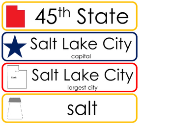 Utah State Word Wall Bulletin Board Set. Geography Curriculum.