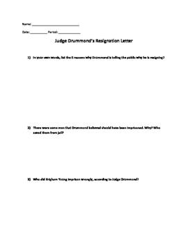 Utah Studies Judge Drummond's Resignation Letter