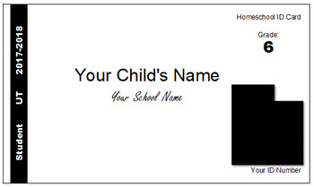 Utah (UT) Homeschool ID Cards for Teachers and Students