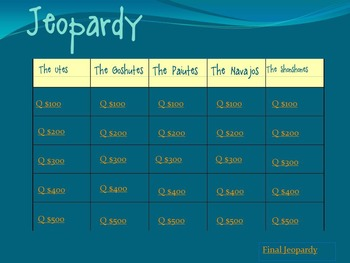 Utah's Five Native Tribes -  Final Review Jeopardy Game!