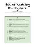 Utah's Wetlands, Forests, and Deserts Vocabulary Matching Game