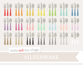 Utensil Clipart; Silverware, Kitchen, Fork, Spoon, Knife
