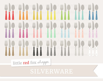 Utensil Clipart; Silverware, Kitchen, Fork, Spoon, Knife