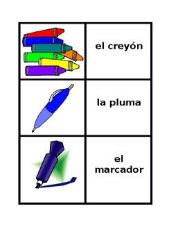 School objects in Spanish Concentration games