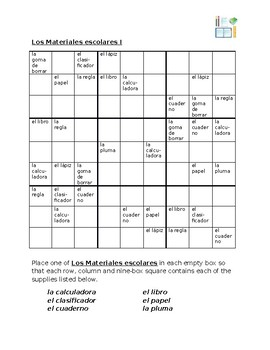 Utiles escolares (School objects in Spanish) Sudoku