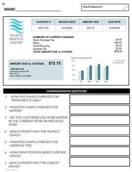 Reading Utility Bills Worksheets Distance Learning