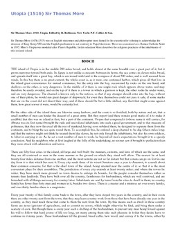 Utopia (1516) Sir Thomas More 1910. AP Primary Sources Document Analysis Exerpt
