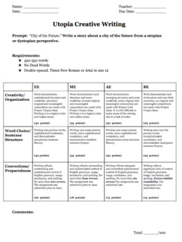 Utopia Project for The Giver Rubric