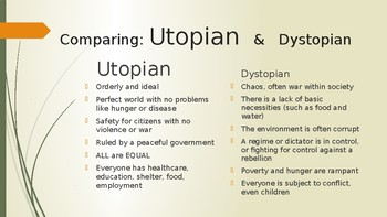 Utopia vs. Dystopia  (TEKS 8.2A) for The Giver by Lois Lowry