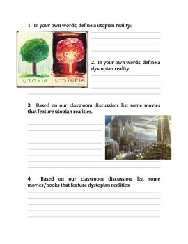Utopia/Dystopia Student Worksheet and Teachers Guide