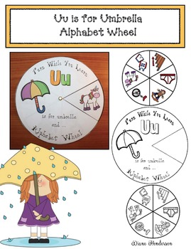 Uu is for Umbrella Alphabet Wheel