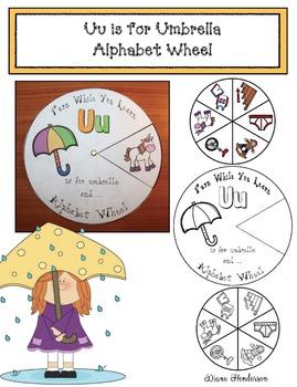 Uu is for Umbrella Alphabet Wheel