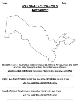 Uzbekistan Natural Resource Worksheet and Word search