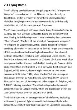 V-1 Flying Bomb Handout