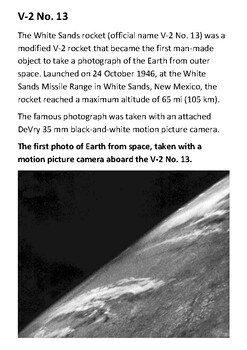 V-2 No. 13 First Picture From Space Handout