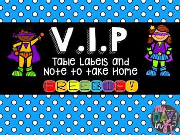 V.I.P. Table Labels