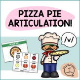 V SOUND Pizza Articulation Cards for Single & Multisyllabic Words & Sentences