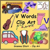 V Word Clip Art - Realistic Color and Black Line