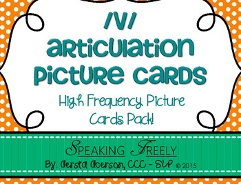 V Articulation Word Cards: High Frequency CVC Picture Word