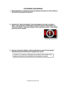 V for Vendetta - Movie Guide and Assignments with Key (WW2 and Totalitarianism)