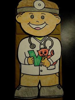 V is for Veterinarian paper bag puppet