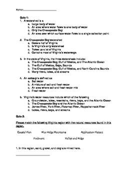 VA 4th Grade Natural Resources Quizzes/ Test