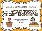 "VA 4th Grade Science SOL ""I Can"" Statements"