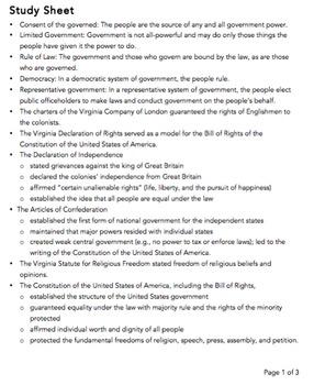 VA Civics & Economics SOL Review Packet #1: Principles of Gov & Citizenship
