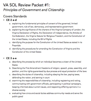 VA Civics & Economics SOL Review Packet #1: Principles of